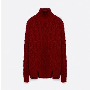 Zara Burgundy Knit Cable Sweater S